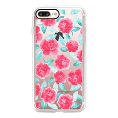 Cottage Peonies Pink Clear - iPhone 7 Case, iPhone 7 Plus Case, iPhone... ($40) ❤ liked on Polyvore featuring accessories, tech accessories, iphone case, iphone cases, iphone cover case, clear iphone case, pink iphone case and apple iphone case