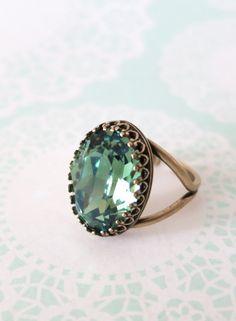 Erinite Green Crystal Cocktail Ring, Brass Adjustable Ring Swarovski Crystal Oval Stone Cocktail Ring Rose Gold Vintage Statement Ring, wedding bridal shower gifts, www.glitzandlove.com