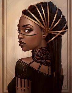Noble woman with Väki heritage - Fantasy character inspiration Black Love Art, Black Girl Art, Art Girl, Afrika Tattoos, Arte Black, Afrique Art, Natural Hair Art, Black Art Pictures, Black Artwork