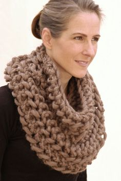 Knit 1 LA - Openwork Infinity Scarf. Cast on 12 sts.  Row 1: Sl 1 (slip stitch as if to purl), *K1, (yo, k2tog) twice; repeat from * end k1. Repeat Row 1 every row until you have enough yarn left to bind off. Bind off.  Sew ends together to make a giant loop (see pic below), wear & enjoy! (hva)