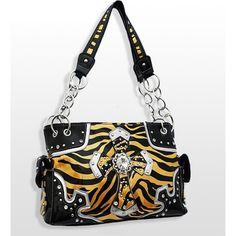 Handbags, Bling & More! Yellow Western Style Cross Purse with Rhinestones : Western Style Cross Purses
