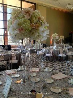 Blush, cream and silver wedding flower centerpieces at The Dusquesne Power Center Ballroom in Pittsburgh, PA, Mocha Rose Floral Designs