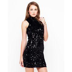 Motel Zabby Anne Wild Sequin and Velvet Dress in Black - Polyvore