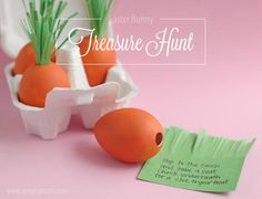Carrot Easter Eggs. Use for a treasure hunt from the Easter Bunny that leads to the Easter basket. www.amyrobison.com/blog #easter #easteregg