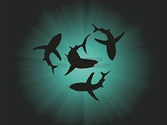 Silhouettes Of Sharks In The Background Of Water Royalty Free . Shark Silhouette, Silhouette Tattoos, Underwater Room, Shark Tattoos, Poster Prints, Art Prints, Great White Shark, Sea Art, Ocean Themes