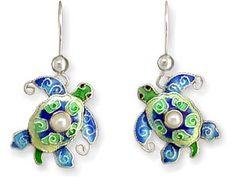 Sea Turtle Earrings with Fresh Water Pearls