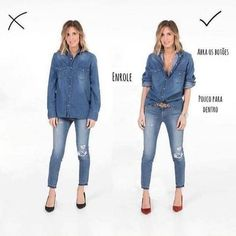 How to wear double denim! If we are talking about a vacation or a short term trip, I always put at least one of my jean outfits to my suitcase. As you know that, they are timeless Mode Outfits, Fall Outfits, Casual Outfits, Fashion Outfits, Chambray Shirt Outfits, Tucked In Shirt Outfit, Outfit Jeans, Fashion Fashion, Jean Outfits