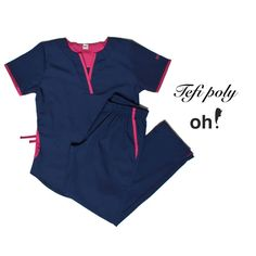 Tefi Poly azul con fucsia - Oh Wear Staff Uniforms, Medical Uniforms, Work Uniforms, Scrubs Outfit, Scrubs Uniform, Doctor Scrubs, Koi Scrubs, Greys Anatomy Scrubs, Suit Accessories