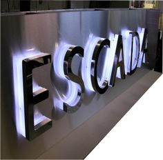 stainless steel backlit channel letters more information… Showroom Design, Shop Interior Design, Sign Board Letters, Led Neon, Neon Box, Small Chalkboard, Acrylic Letters, Channel Letters, Shop Window Displays