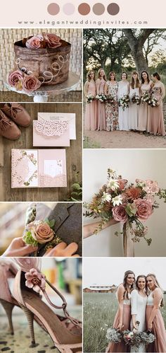 10 Chic Earth Tone Fall and Winter Wedding Color Combos muted dusty rose and earthy blush fall wedding color combos Blush Fall Wedding, Fall Wedding Bridesmaids, Dusty Rose Wedding, Pink Bridesmaid Dresses, Fall Wedding Flowers, Autumn Wedding, April Wedding, Burgundy Wedding, Wedding Dresses
