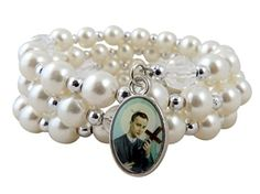 """Patron of Mothers Saint St Gerard White Imitation Pearl Bead 7 1/2 Inch Adjustable Wrap Rosary Bracelet. Glass Imitation Pearl Bead / Zinc Alloy / Epoxy. 7 1/2"""" Adjustable - One Size Fits Most. Makes a great gift!."""