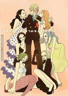 One Piece, Sanji, Nami, Robin, Viola, Vivi, Kalifa, Keimi