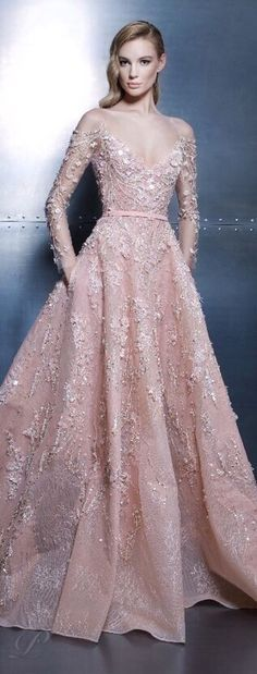 Ziad Nakad Haute Couture 2015 Blush pink evening or wedding gown