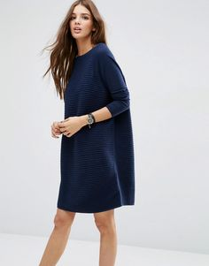 Buy it now. ASOS Swing Dress In Ripple Stitch - Navy. Knit dress by ASOS Collection, Breathable cotton knit, Ribbed main, Boat neckline, Smooth contrast sleeves, Oversized fit - falls generously over the body, Machine wash, 100% Cotton, Our model wears a UK 8/EU 36/US 4 and is 175 cm/5'9� tall. ABOUT ASOS COLLECTION Score a wardrobe win no matter the dress code with our ASOS Collection own-label collection. From polished prom to the after party, our London-based design team scour the globe…