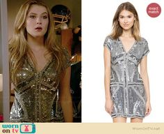Kara's sequinned v-neck homecoming dress on Red Band Society.  Outfit Details: http://wornontv.net/37965/ #RedBandSociety
