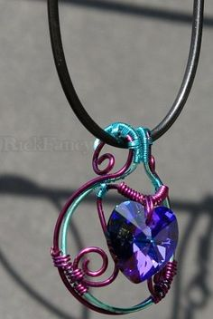 Wire wrapped hand made jewelry with swarovski heart crystal purple - carbon blue