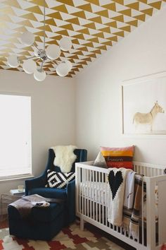 Modern nursery with geometric ceiling! | Style Me Pretty     View entire slideshow: 20 Modern Nurseries on http://www.stylemepretty.com/collection/359/