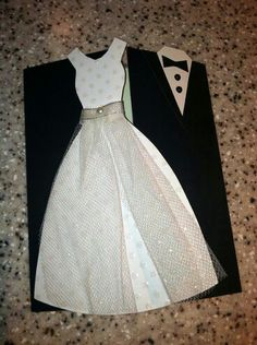 Wedding invitation! White Wedding dress and a black suit!