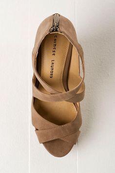 Chinese Laundry Motion Wedge. #shoes #chineselaundry #wedge #straps #zipper #taupe
