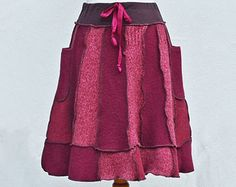 Sweater Skirt Women's Wool A-Line Pixie Skirt Upcycled Clothing Elastic Waistband Unique Flirty Gypsy Patchwork Size M/L Red Maroon Rose