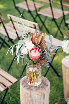 Rustic Winter Orchard Wedding Inspiration - Tying the Knot - Protea Wedding, Wedding Table Flowers, Rustic Wedding Centerpieces, Wedding Table Centerpieces, Ceremony Decorations, Flower Centerpieces, Floral Wedding, Wedding Bouquets, Flower Arrangements