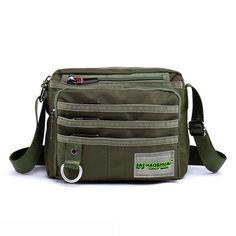 Sale 16% (15.7$) - Men Nylon Casual Sport Outdoor Multi Pockets Green Black Shoulder Crossbody Bag