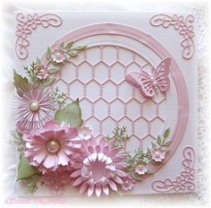Delightfully Crazy: Circle of Flowers Card - Cheery Lynn Designs. Try designing this with Silhouette. Also try to do it in quilling!!