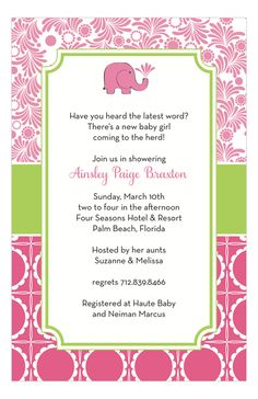 Are you seeing stars, or maybe pink elephants after hearing the news? You are going to be a mother! YOU are going to be a parent! This momentous occasion calls for a memorable celebration. Make sure everyone has a chance to congratulate you on your leap into motherhood. Relatives and friends will want to give you their advice and thoughtful gifts that will be a god send after the baby is born. These girl baby shower invitations by Roseanne Beck are ideal if you are having a baby girl.