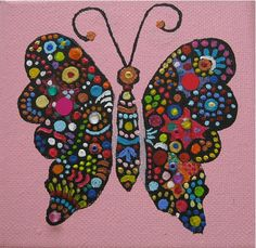 Vlinder Acryl mixed media op doek 10 x 10 cm door Ans van Essen