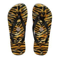 874a803109c Chisato Cute Orange Tiger Skin Animal Print Designer Unisex Flip-Flops -  Made in USA