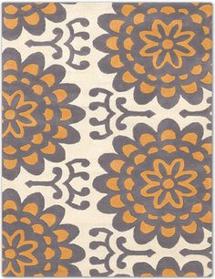 Beige Rug With Orange Flowers By Amy Butler
