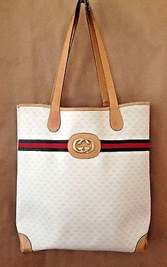 e63537e270cd0 Authentic Gucci Off White GG w Red Green Detail EX Large Shopper Tote  Handbag Does not
