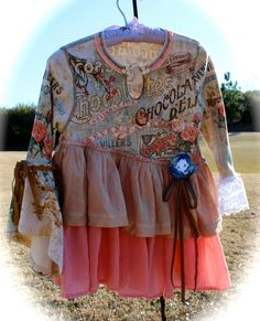 Boho French Chocolate Collage Dress Sweet BabyDoll Deconstructed Reconstructed Original Southern Rebel Belle Girls 10/12 Izzy Roo Style