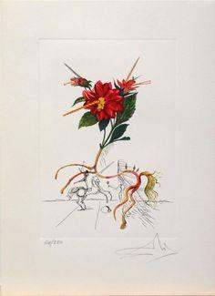 "Salvador Dalí: ""FlorDali, Dahlia"" 64/350 Surreal Tattoo, Surreal Art, Magic Realism, Realism Art, Salvador Dali Tattoo, Figueras, Famous Artwork, Surrealism Painting, Spanish Artists"