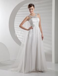 Modern White Chiffon A-line Halter Fashion Wedding Dress - Milanoo.com