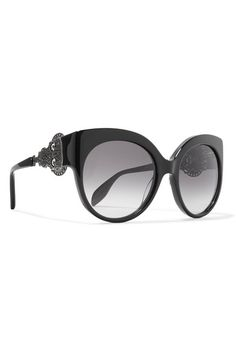 Black acetate and metal Come in a leather hard case 100% UV protection Made in Italy