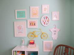 Aqua and Coral Nursery Gallery Wall - love this eclectic, hipster look!