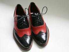 Livraison gratuite - chaussures d'oxford en cuir rouge et noir-