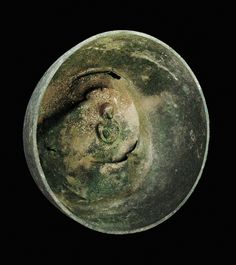 #Roman #bronze bowl with the bust of a woman in the center. 100 AD