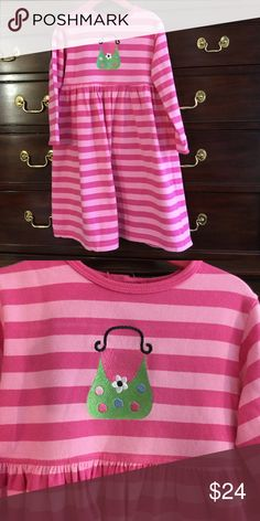Chez Ami Cotton Knit Dress, size 5 Excellent cond Soft and comfy, this adorable pink on pink stripe dress is one she will wear again and again. Green purse embroidery. Excellent Condition!  Chez Ami Dresses Casual