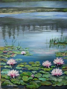 Pink Water Lilies in acrylic by M. Hatfield