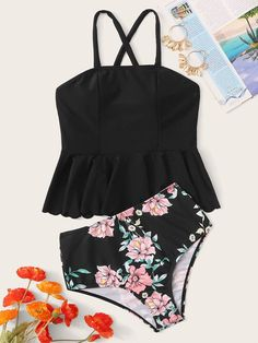 Criss Cross Ruffle Hem Top With Floral Tankini - Products - Sexy Bikini Floral Tankini, Tankini Top, Cute Swimsuits, Tankini Swimsuits For Women, Modest Swimsuits, Cute Bathing Suits, Beachwear For Women, Criss Cross, Fashion Outfits
