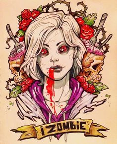Of everyone here, who would you eat first? Azul Tardis, Izombie Serie, I Zombie, Rose Mciver, Cross Paintings, Horror Art, Wallpaper, Favorite Tv Shows, Fanart