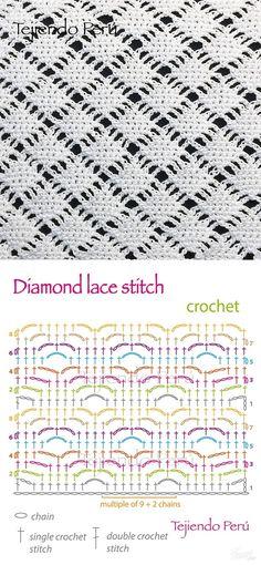 Crochet: diamond lace stitch diagram, <a class=\