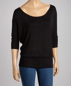 Take a look at this Black Boatneck Top on zulily today!