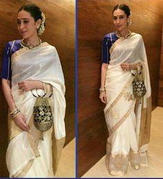 #Bollywood Style Inspiration: Ways To Wear Kerala Sarees For Onam Kasavu Saree, Chanderi Silk Saree, Silk Sarees, Bollywood Wedding, Saree Wedding, Bollywood Style, Wedding Wear, Wedding Dress, Dress Indian Style
