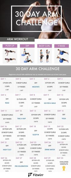 Sculpt and tone your arms in 30 days. Take this 30 Day Arm Challenge. Beginner friendly yet challenging workout to put your arms on fire.: