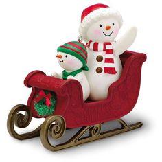 Twinkling Sleigh Ride 2016 Hallmark Ornament Snowman Here We Come A-Wassailing Hallmark Christmas Ornaments, Baby First Christmas Ornament, Hallmark Keepsake Ornaments, Christmas Sleighs, Christmas Trees, Music Ornaments, Snowman Ornaments, Snowmen, Reindeer Decorations