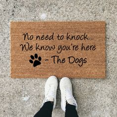 Dog Mom Discover No Need To Knock We Know Youre Here Dog Doormat Dog Lover Funny Doormat Wedding Gift Closing Gift Housewarming Gift Welcome Mat Funny Doormats, Dog Rooms, Rooms For Dogs, Welcome Mats, Dog Quotes, My New Room, First Home, Dog Life, Fur Babies