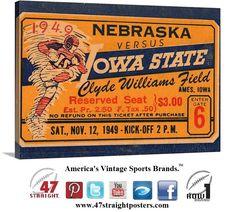 Vintage football art. 1949 #Nebraska #Cornhuskers vs. #IowaState #Cyclones #collegefootball ticket art on canvas. #ISU #Ames #row1 #sports #art #Iowa